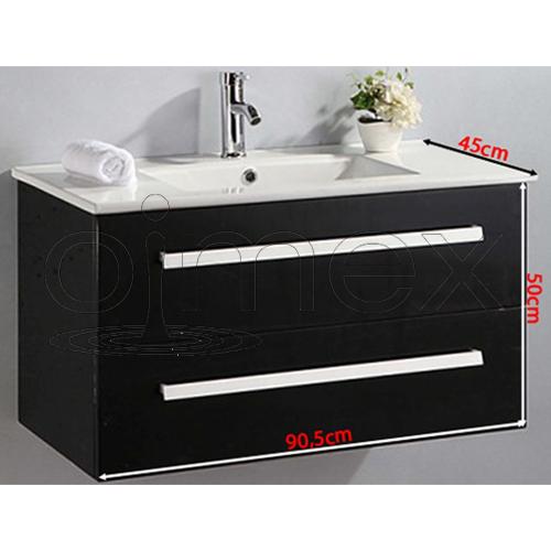 badm bel set hochglanz schwarz komplett waschtisch waschbecken schrank spiegel ebay. Black Bedroom Furniture Sets. Home Design Ideas