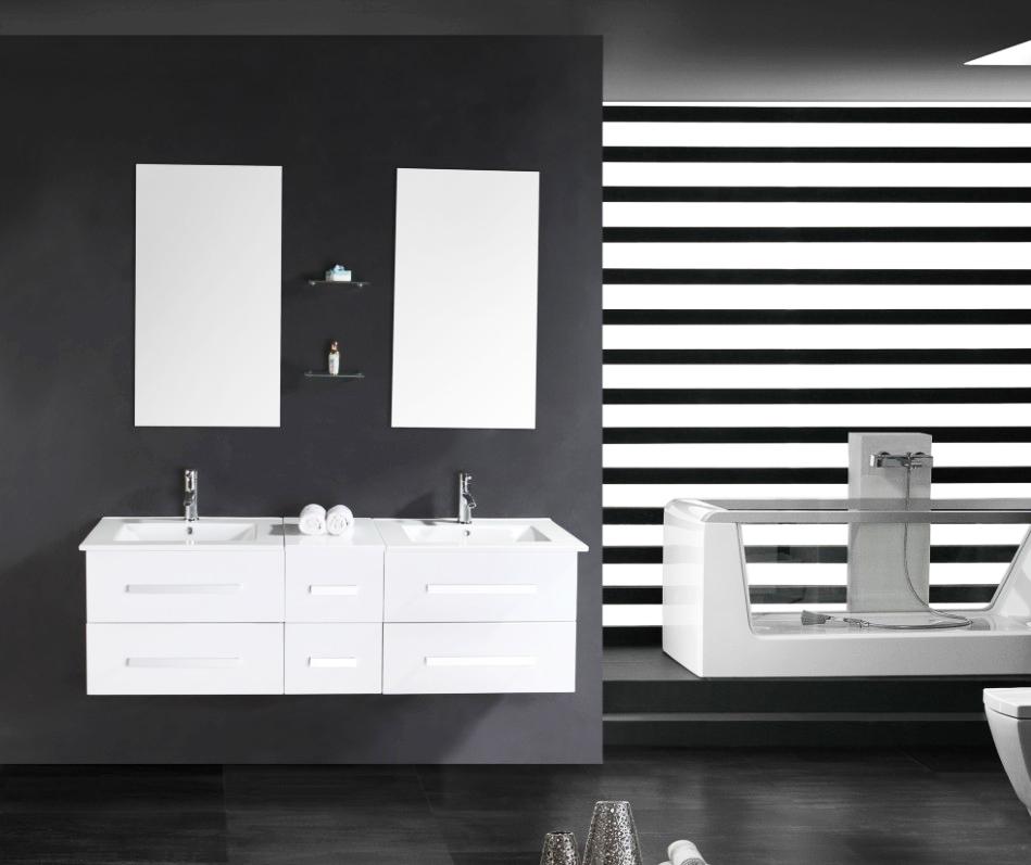 doppel waschtisch set hochglanz wei armatur waschbecken spiegel unterschrank ebay. Black Bedroom Furniture Sets. Home Design Ideas