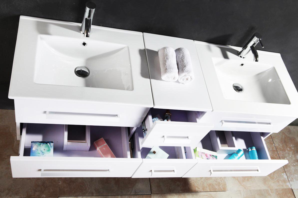 doppel waschtisch set hochglanz weiß armatur waschbecken spiegel ... - Exklusiven Wasch Becken Mit Uterschrank