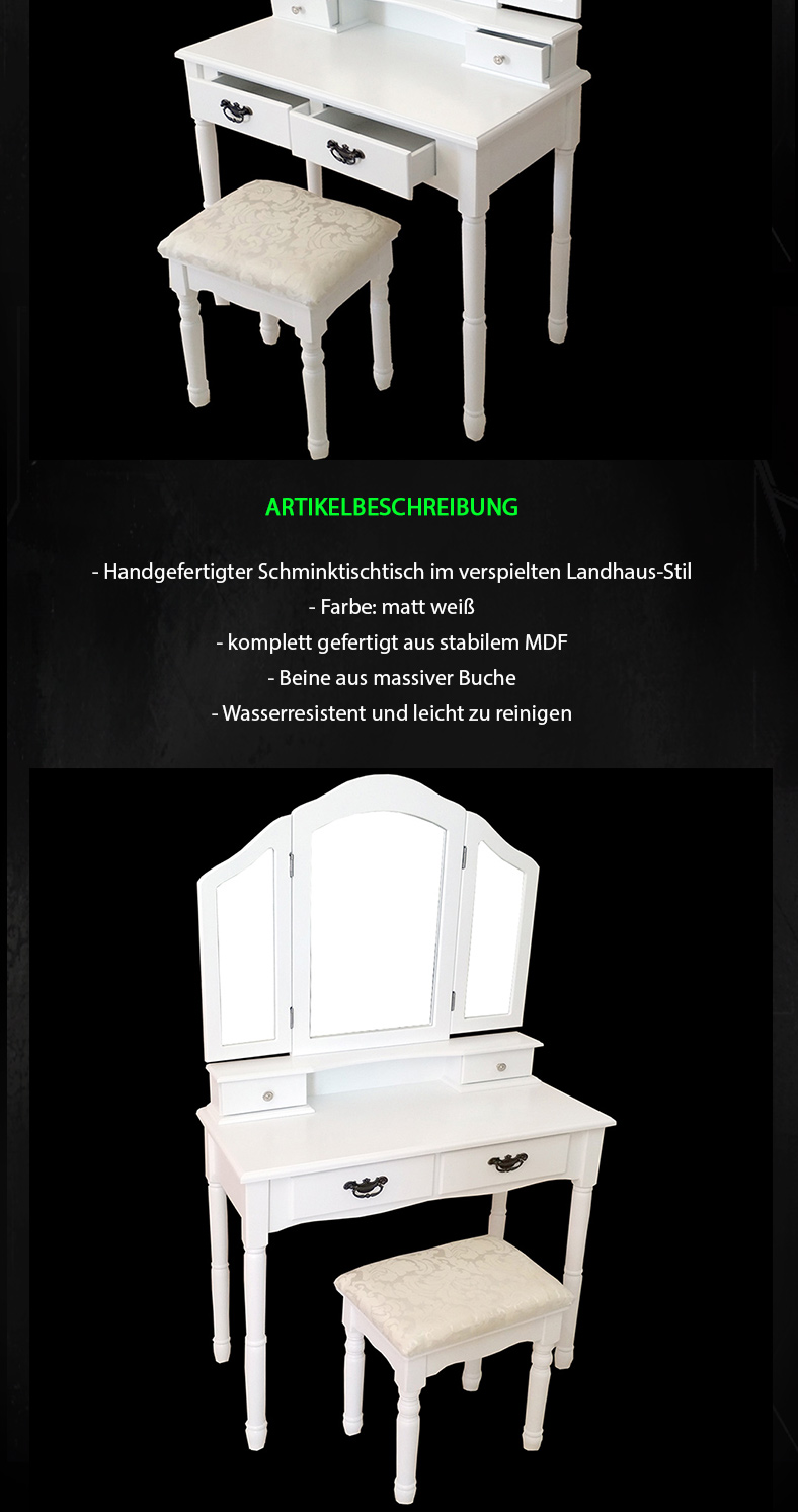 gro er 3d schminktisch mit hocker frisiertisch kommode. Black Bedroom Furniture Sets. Home Design Ideas