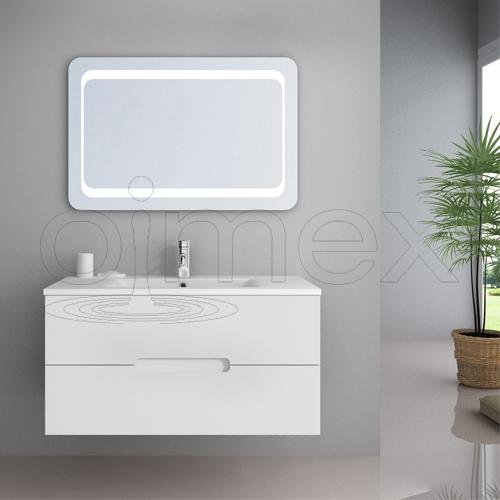 wow einzel waschplatz 90 cm tiana weiss led waschbecken inkl armatur waschtisch ebay. Black Bedroom Furniture Sets. Home Design Ideas