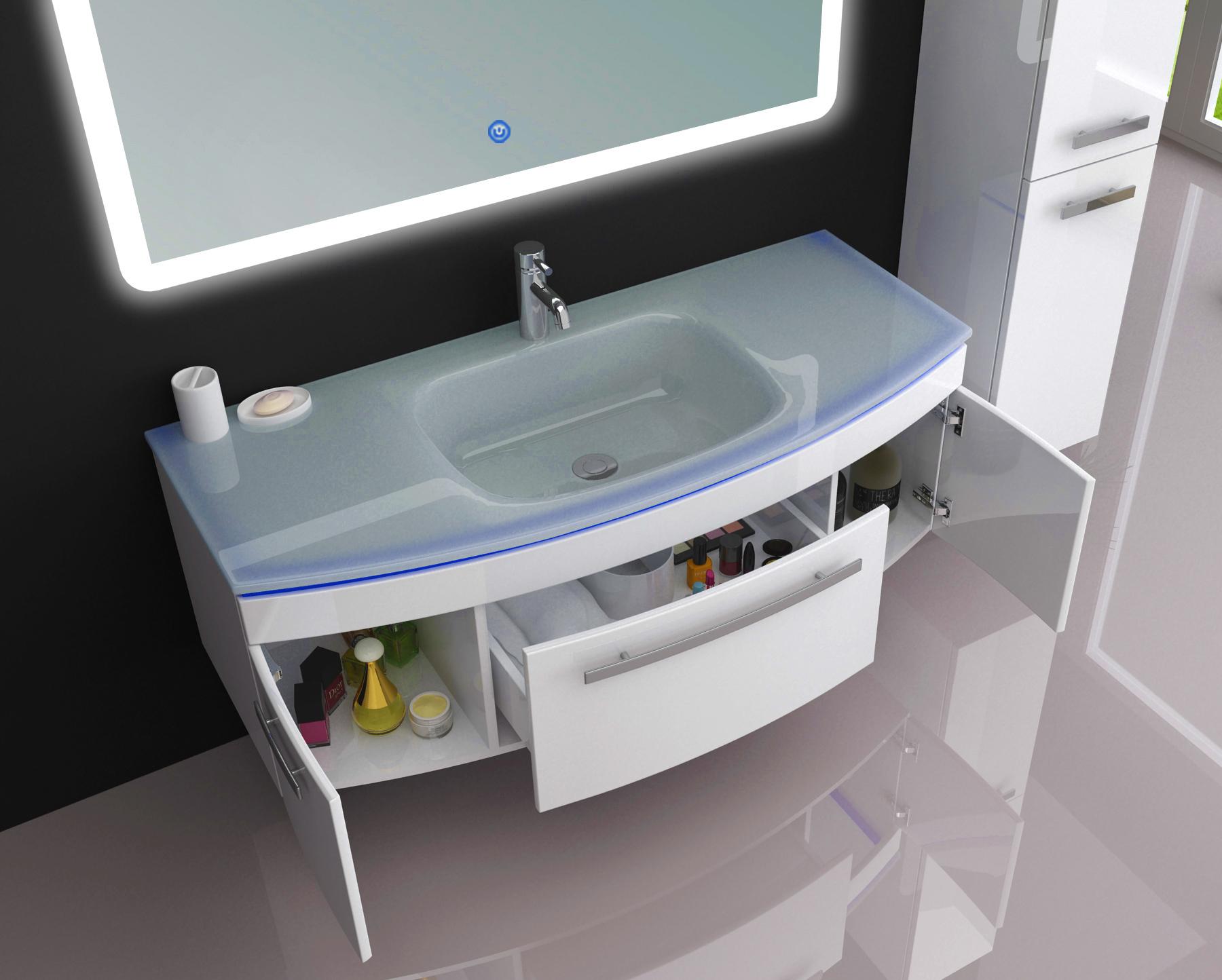 Details zu JASMIN 8 cm Waschtisch Waschbecken Unterschrank Badmöbel Set  Weiß Spiegel