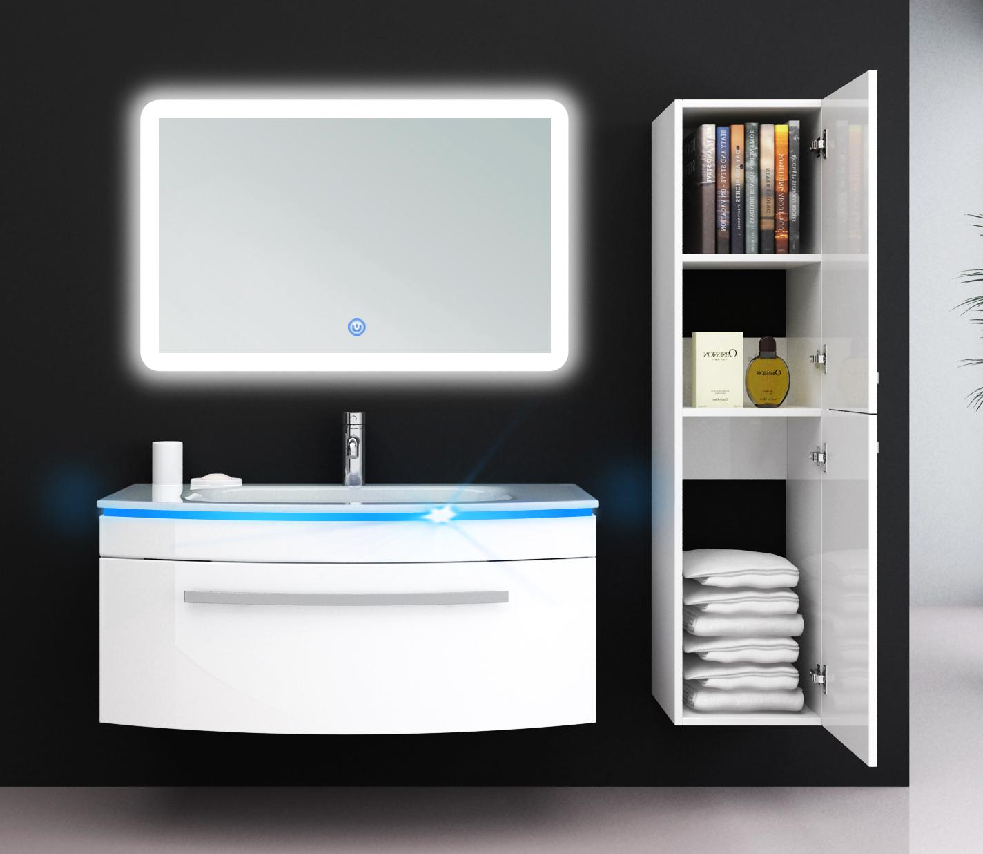 Details zu JASMIN 8 cm LED Waschtisch Waschbecken Unterschrank Badmöbel  Set Weiß Spiegel